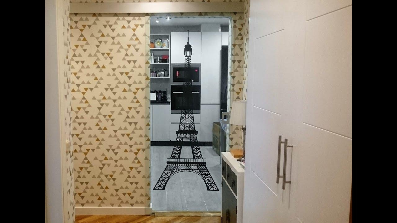 Instalaci n puerta corredera de cristal vinilo paris - Vinilos puertas cristal ...