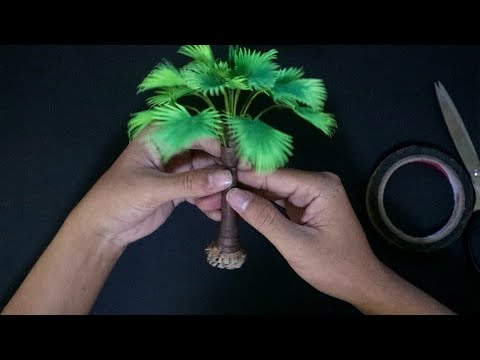 DIY How to make paper tree - Fan Palm Tree - Maket Tree