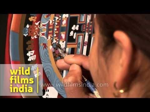 Artists make Mandala paintings in Nepal
