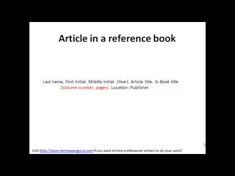 How to cite a reference book in apa format youtube ccuart