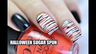 Halloween Sugar Spun Nail Art Tutorial    Marine Loves Polish
