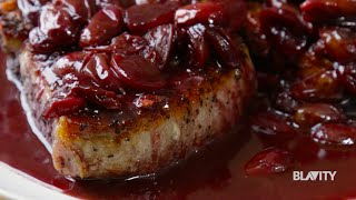 The Hungry Hutchs Seared Pork Chops with Red Wine & Grape Sauce