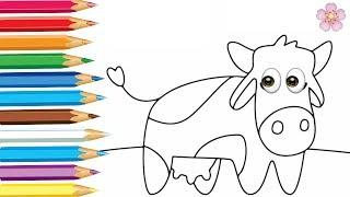Раскраска для детей оранжевая КОРОВА. Мультик - Раскраска. Учим цвета
