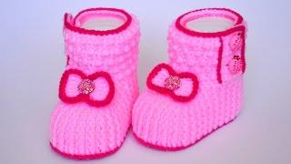 Пинетки крючком для принцессы. Crochet booties for girl DIY(Мастер класс. Вяжем крючком пинетки для девочки. Также можно связать такие пинетки для мальчика, используя..., 2016-08-27T11:33:19.000Z)