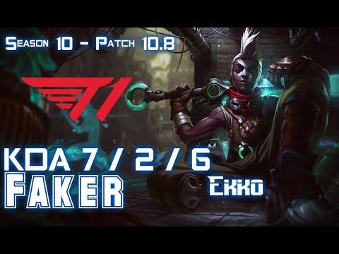 T1 Faker EKKO Vs SYNDRA Mid - Patch 10.8 KR Ranked