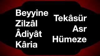 Beyyine Zilzal Adiyat Karia Tekasür Asr Hümeze suresi 30. cüz tecvi...