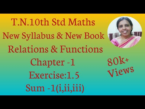 10th Std Maths New Syllabus (T.N) 2019 - 2020 Relations & Functions Ex:1.5-1(i,ii,iii)