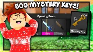 UNBOXING 500 MYSTERY KEYS! (Murder Mystery 2) I GOT A GODLY!!!