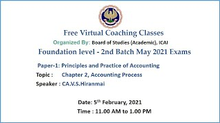 Foundation Paper 1 PPA Topic: Chapter 2, Accounting Process Morning Session Date: 5-2-2021