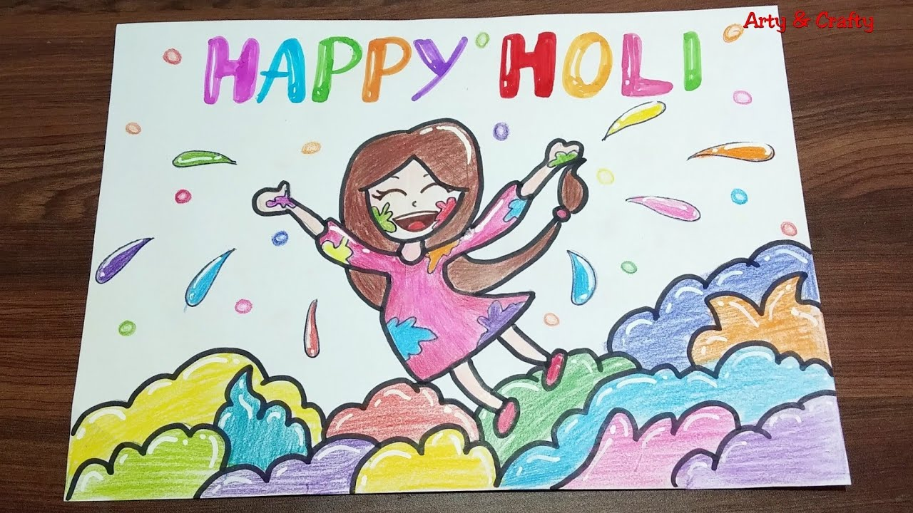 Easy Drawing On Holi 2019 How To Draw Holi Festival For Kids Holi Drawing By Arty Crafty Youtube