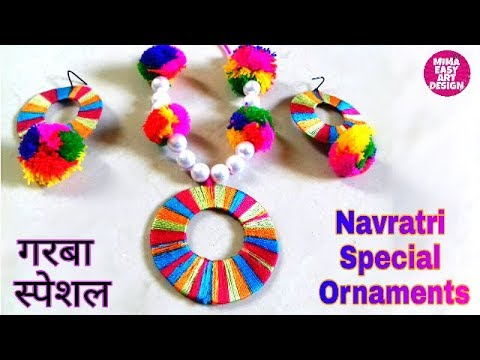 DIY Necklace How to make Navratri Jewellery/Ornaments |Navratri Garba jewellery |Girl Jewellery 2018