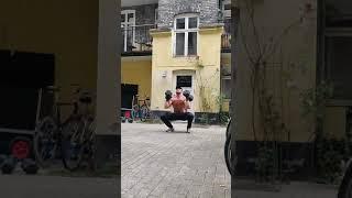 Devil's muscle clean + front squat + push press + 3 lateral burpees w. 30kg dumbbells by Erik Kelner