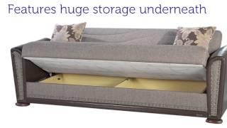 Istikbal ALFA Three Seat Sofa Sleeper with Storage in Redeyef Brown