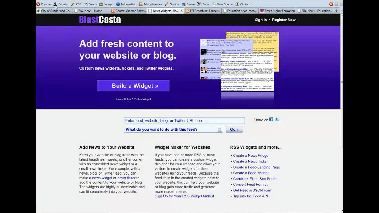 Combining RSS feeds and displaying in a Moodle Course
