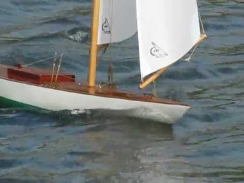 Vintage Marblehead  model yacht sailing in Boston