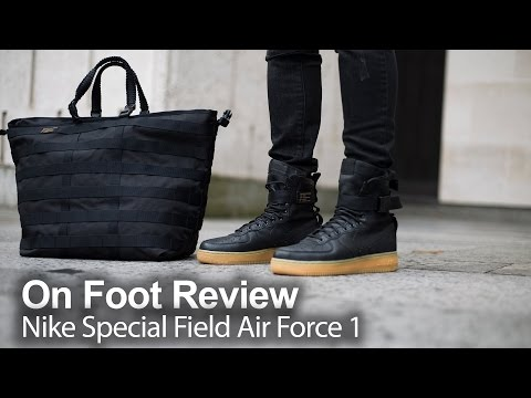 new concept 5c16b 53caa On Foot Review   Nike Special Field Air Force 1s  Black Gum  - YouTube