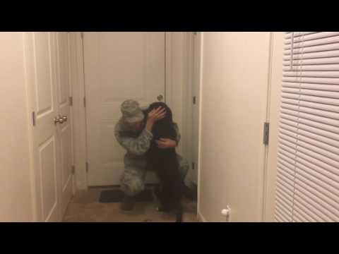 Dog Welcomes Soldier Home & Pees in excitement