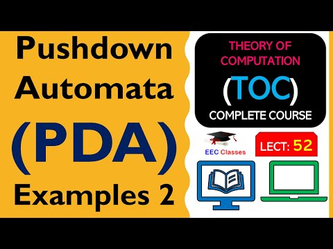 TOC Lecture 44: Pushdown Automata(PDA) Solved Example in Hindi(Question 1)