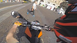 KTM DUKE 690 - SCARING PEDESTRIANS - WHEELIES AND ILLEGAL EXHAUST SOUND