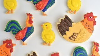 ROOSTER~HEN~CHICK FARM ANIMAL COOKIES by HANIELA