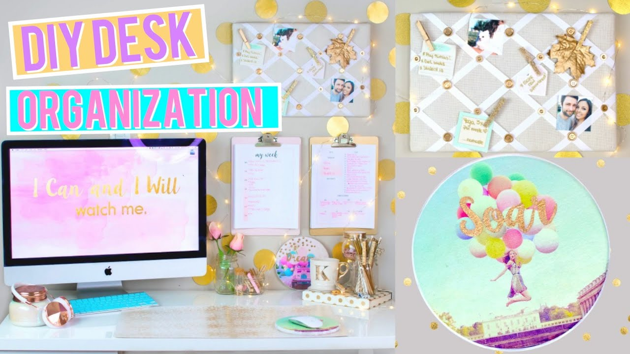 marvelous Diy Desk Organization Part - 10: DIY Desk Organization and Decor! Pinterest + Tumblr Inspired!! |  Kristi-Anne Beil