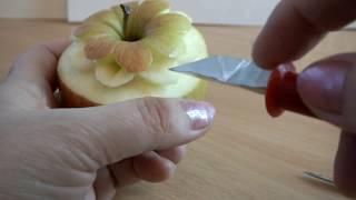 Карвинг из овощей и фруктов  на яблоке แกะสลักผลไม้ Vegetable Carving   карвинг