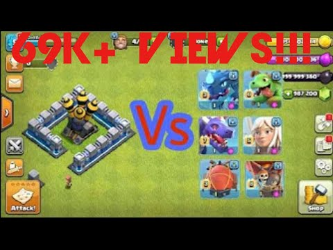 LEVEL 10 AIR DEFENCE VS. ALL MAX FLYING TROOPS!!(ELIXIR)