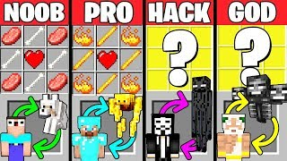 Minecraft Battle: HOW TO PLAY MOB CRAFTING CHALLENGE - NOOB vs PRO vs HACKER vs GOD Funny Animation
