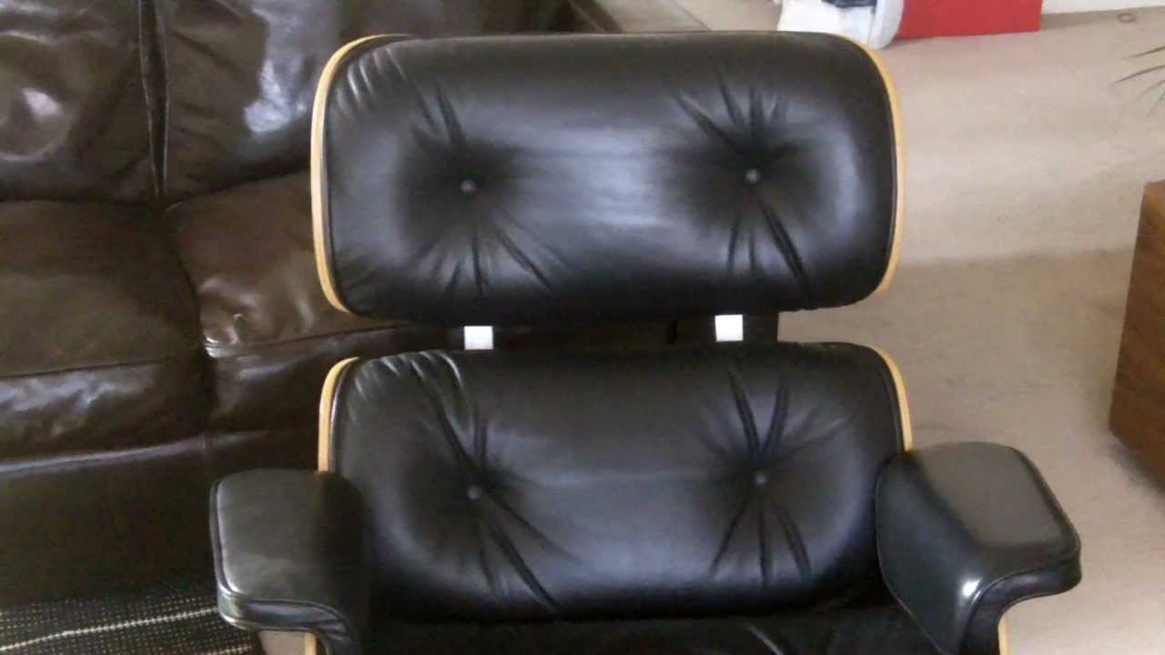 Eames Classic Lounge Chair And Ottoman In Black Leather And Cherry