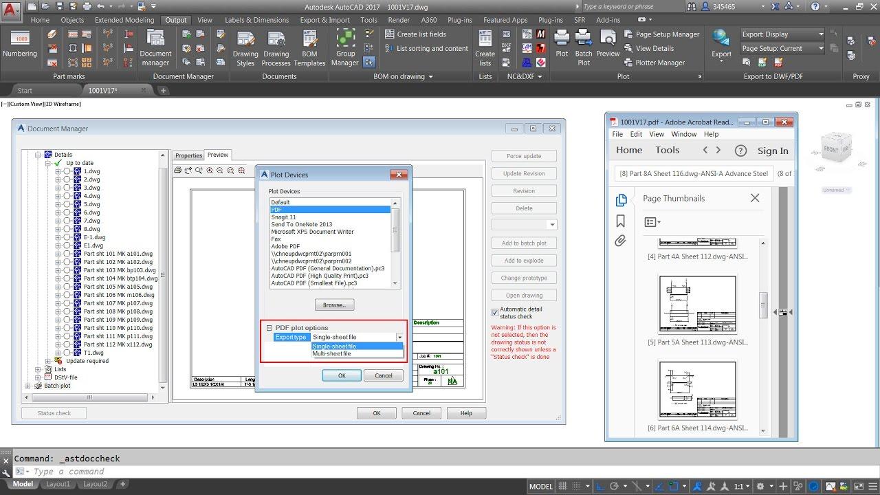 Advance Steel  Convert Multiple Dwg Shop Drawings To Pdf File(s)