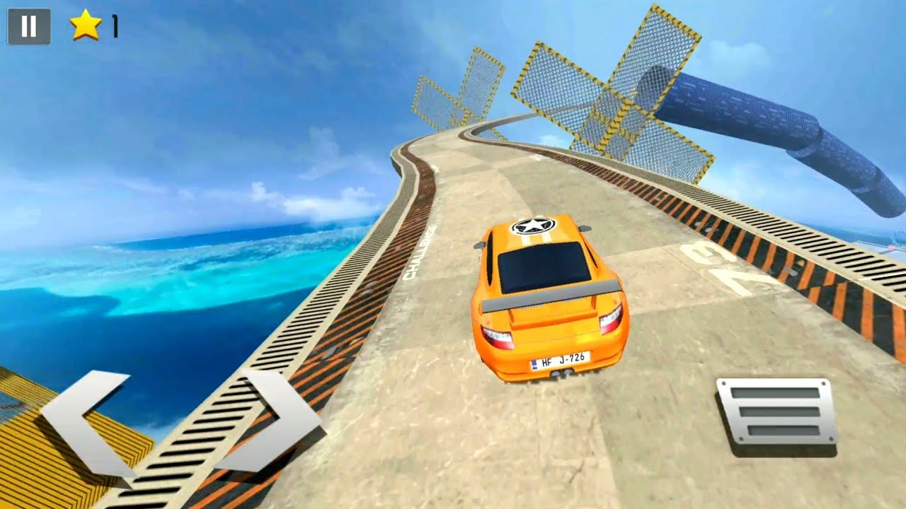 Drive Challenge - Impossible Track yellow Car Stunt android gameplay