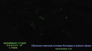 Кумпяк Григорий 11лет. ОБУЧЕНИЕ НОВИЧКОВ ОСНОВАМ ИГРЫ НА БИЛЬЯРДЕ   В ПРЯМОМ ЭФИРЕ.