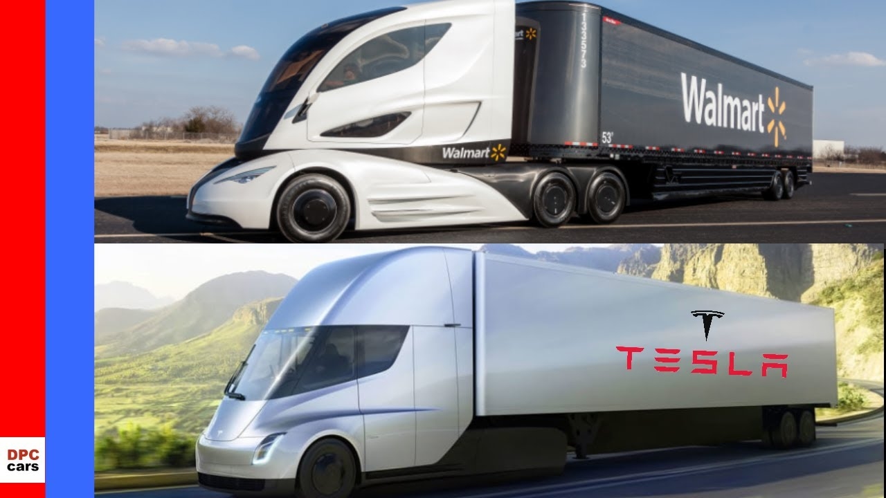 Tesla Semi Truck Vs Walmart Semi Truck Youtube