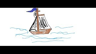 Easy Kids Drawing Lessons :How to draw a boat step by step