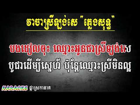 វាចាស្រីឡង់សេ ភ្លេងសុទ្ធ ចាន់ កណ្ណិកា, VEA CHA SREY LONG SEI ( Video Khmer for sing )