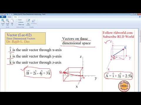Vector Lecture 02: Operation with 3D Vectors