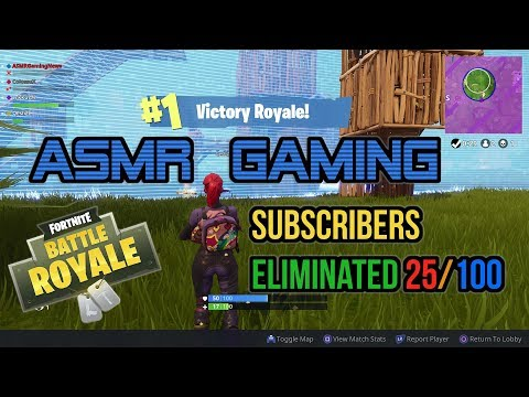 ASMR Gaming   Fortnite Subscribers Squad Eliminates 25/100 Players ★Controller Sounds + Whispering☆