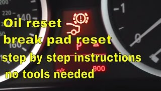BMW 5 Series brake pad reset, oil reset, and service  reset.