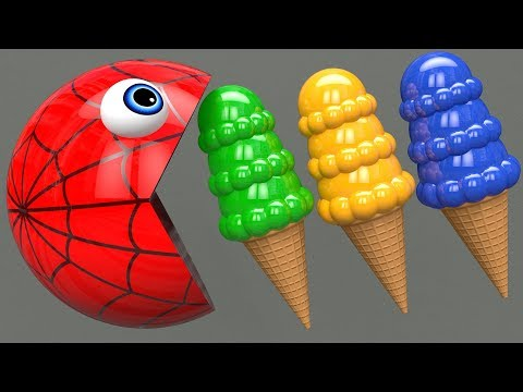 Learn Colors with PACMAN and Farm Watermelon IceCream Surprise Toy Street Vehicle for Kid Child