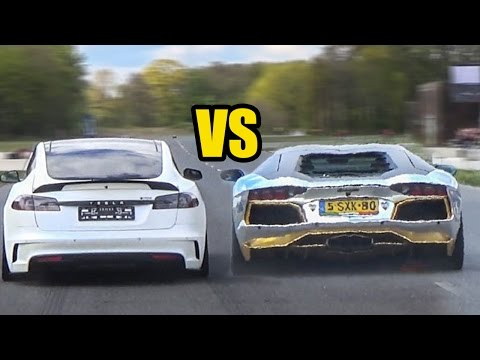 Tesla MODEL S P100D VS Lamborghini Aventador LP700-4 – DRAG RACE!
