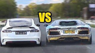 Tesla MODEL S P100D VS Lamborghini Aventador LP700-4 - DRAG RACE!