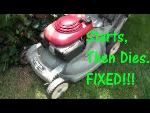 HRB 215 HONDA Lawnmower (plastic deck type) Wont START Starts then DIES ~  RUNS with CHOKE on only ~
