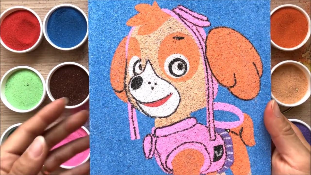 Đồ chơi trẻ em Tô màu tranh cát Chó cứu hộ Paw patrol - Colored sand painting toys (Chim Xinh)