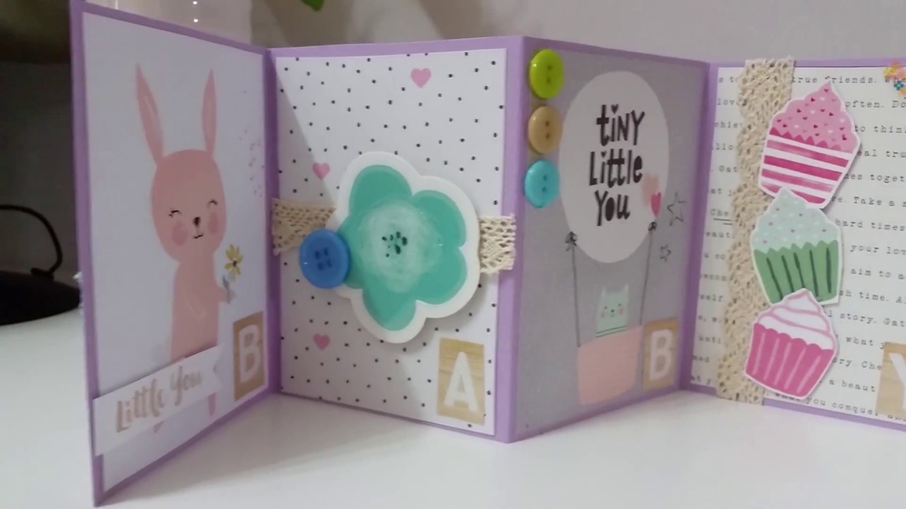 Diy4 How To Make An Accordion Fold Card For Newborn Baby Girls And