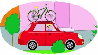 Мультик - Раскраска. Учим Цвета - Разные велосипеды