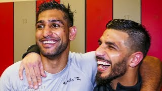 Amir Khan & Billy Dib BACKSTAGE BUDDIES Post Fight