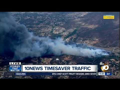 Alpine fire burning near Interstate 8