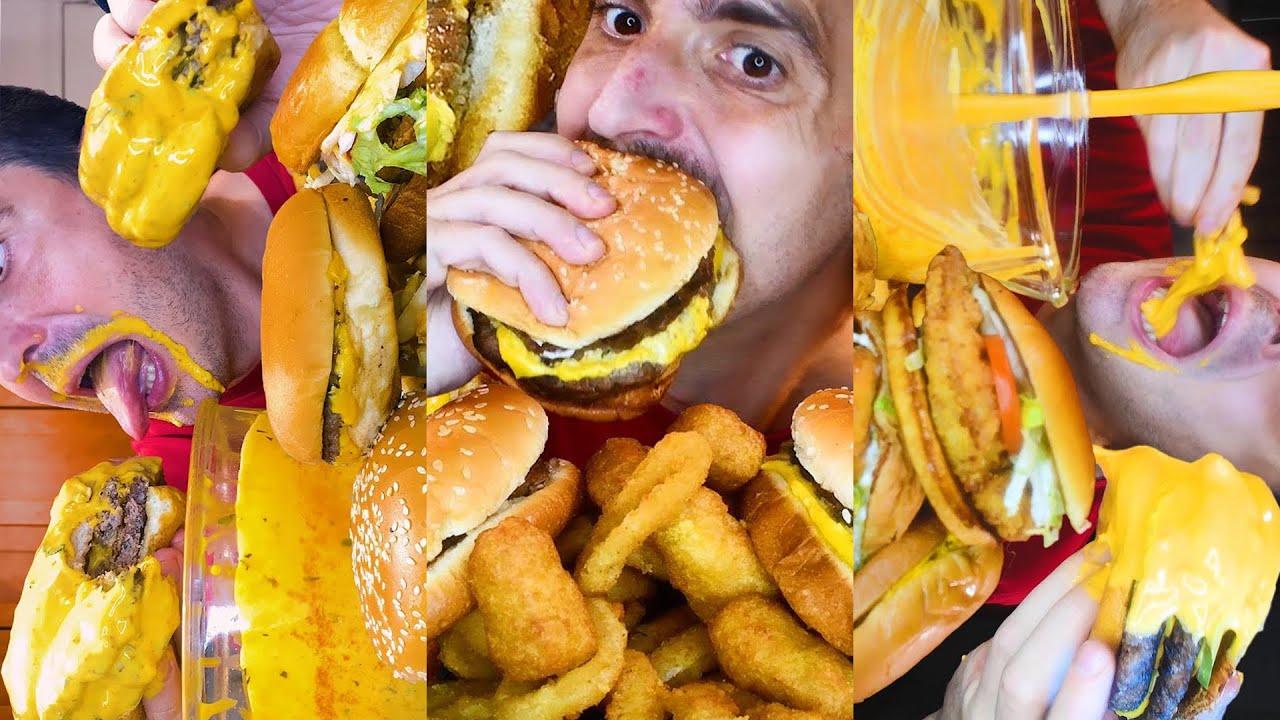 ASMR eating MCDONALDS + BURGER KING for 1 hour no talking 먹방