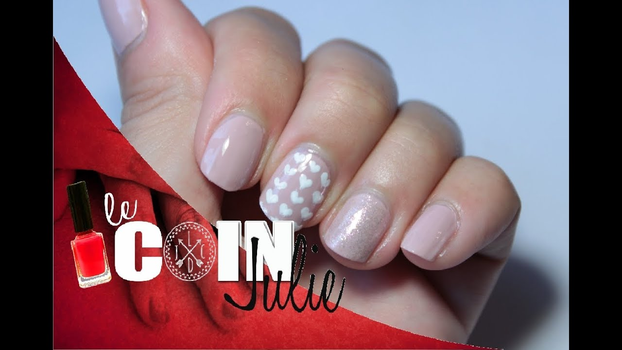 Nail art simple et discret de saint valentin lecoindejulie youtube - Nail art discret ...