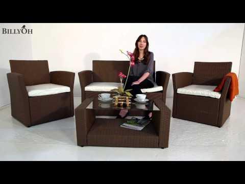 Garden Furniture Rattan Sofa 4 Seater Set